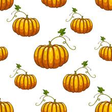 Pumkin Seamless Pattern. Vector Illustration. Cartoon Style