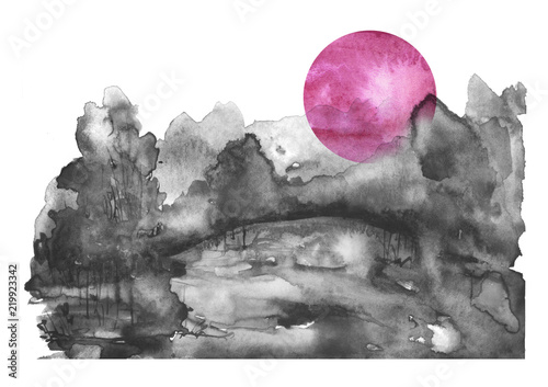 Plakaty na wymiar watercolor-banner-logo-postcard-black-silhouette-of-the-forest-pine-spruce-birch-poplar-maple-watercolor-landscape-black-splash-of-paint-abstract-spots-beautiful-drawing-red-pink-sun
