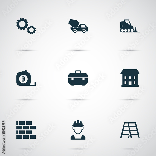 Foto  Industry icons set with toolbox, builder, concrete mixer and other measure tool  elements