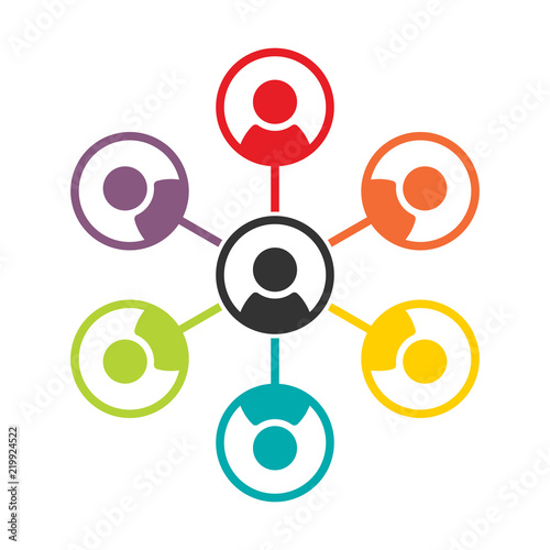 Fototapeta Simple, flat, colorful social (people) networking icon
