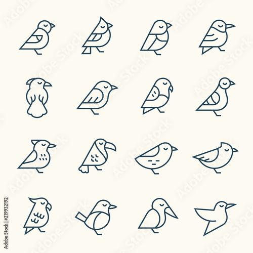 Naklejka premium Ikony linii ptaków