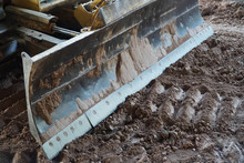 Close-up Of A Dozers Wheel Construction Site