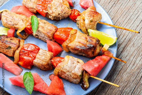Shish kebab with watermelon garnish