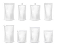 Realistic Detailed 3d Various White Blank Doypack Template Mockup Set. Vector