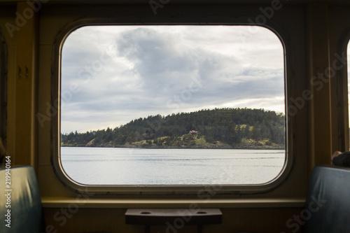 View of San Juan Islands from Ferry window.