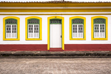 Facade Of A Colonial Historic Building In Center Of Iguape, South Coast Of Sao Paulo State