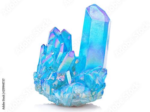 Amazing colorful Quartz Rainbow Flame Blue Aqua Aura crystal cluster closeup macro isolated on white background