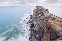 Stormy Sea Near Cliff