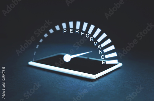 Cuadros en Lienzo Performance speedometer on a tablet screen. Business concept