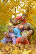 canvas print picture - Portrait of a big family having fun
