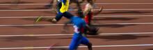 Running Men Sprinters Runners In 100 Meters Blurred Motion