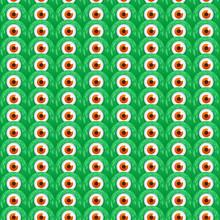 Cute One-eye Green Monsters Seamless Pattern.