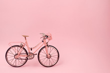 Pink Vintage Bicycle On Pink B...
