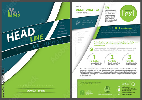 Geometric Flyer Template | Modern Geometric Flyer Template With Curved Stripes Abstract