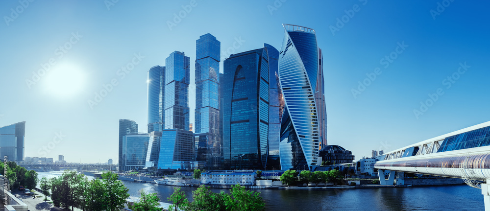 Fototapeta Panoramic view of Moscow-City and Moscow River. International business center in the daytime
