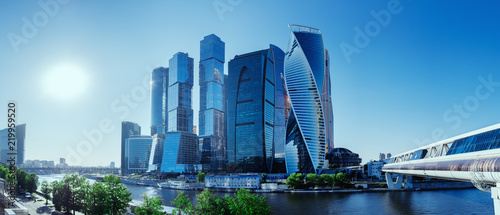 Garden Poster City building Panoramic view of Moscow-City and Moscow River. International business center in the daytime