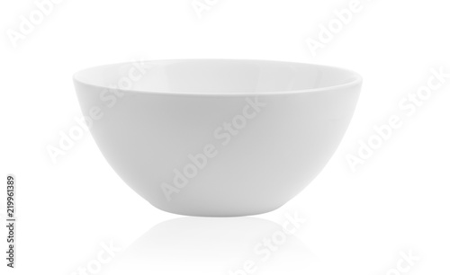 white ceramics bowl isolated on white background. Fototapete