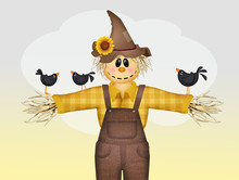 Scarecrow And Crows