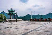 Pavilion And Square In Binjiang Riverside Park Along The Yangtze River In Yichang Hubei China