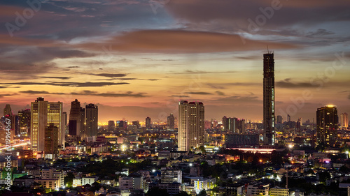 sunrise skyline and cityscape light up