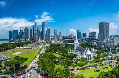 Foto op Aluminium Kuala Lumpur Singapore city skyline of business district downtown in daytime.