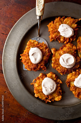 Hanukkah, Apple Potato Latkes with Cinnamon Sour Cream