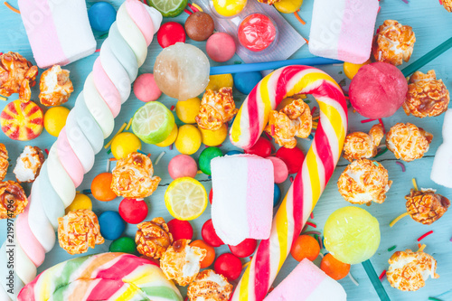 Fotografia, Obraz  Mix of multicolored, sweets, lollipops and candies