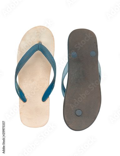 Old Flip Flops Isolated on white Background. Top View, clipping path