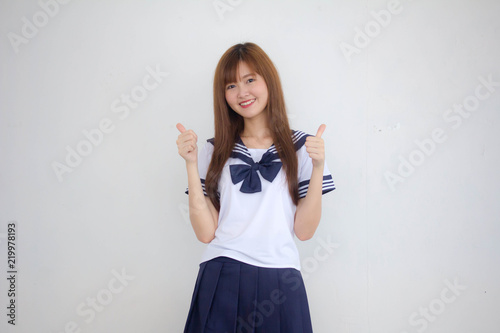Fotografie, Obraz  Portrait of thai teen beautiful girl in japanese student uniform excellent