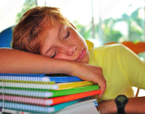 Foto  portrait school boy depressed