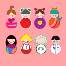 Cute Avatar Doll Cartoon Stickers Set.Character Design.Happy Kids Concept.Flat Style.Vector Illustration.