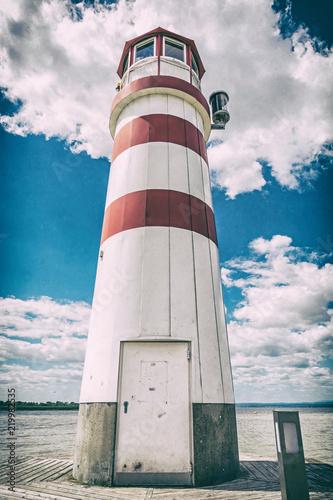 Spoed Foto op Canvas Vuurtoren Lighthouse on Neusiedler See, Austria, analog filter