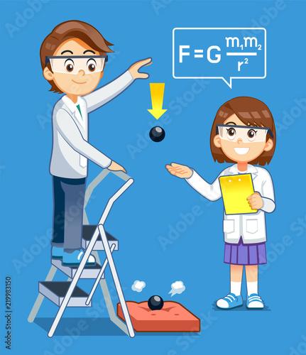 Fototapeta Gravity Science experiment kids class. Basic physics rules test.