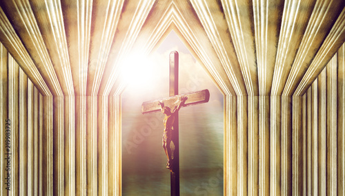 Fotografie, Obraz  crucifix, jesus on the cross in church with ray of light