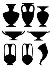 Black Silhouette. Greek Pottery Icon Collection. Amphora, Rhyton, Kylix. Greek Or Roman Culture. Flat Vector Illustration Isolated On White Background