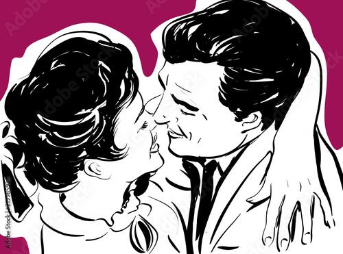 Croquis Couple Amour Heureux Bonheur Enlace Dessin Deux Couleurs
