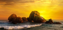 Sea Landscape With Rocky Island And The Sunrise. Wide Photo.