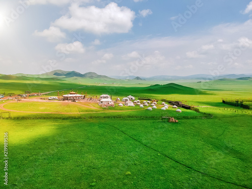 Foto op Plexiglas Groene Aerial photography Ulan Buddhism grassland