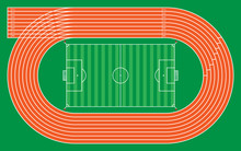 Eight Running Tracks With Football Stadium For Pattern And Design,vector Illustration
