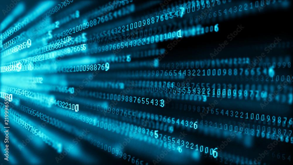 Fototapety, obrazy: Data technology background. Big data visualization. Flow of data. Information code. Background in a matrix style. 4k rendering.