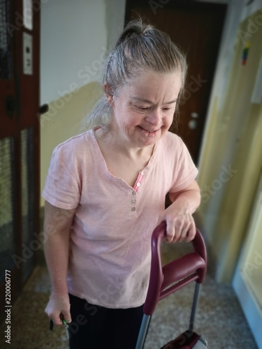 portrait of old woman with down syndrome Tableau sur Toile
