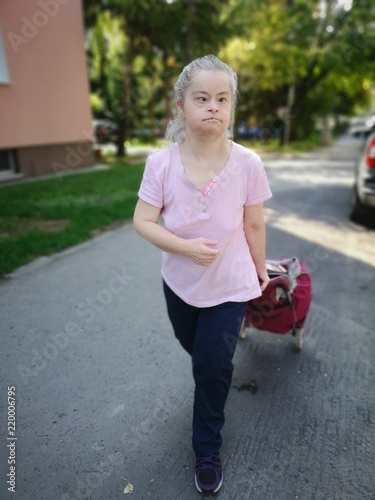 portrait of old woman with down syndrome Poster Mural XXL