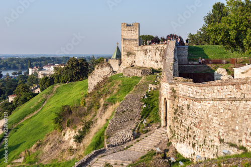 Papiers peints Con. ancienne SERBIA, BELGRADE - JULY 11, 2018: People tourists standing on wall of fortress Kalemegdan in summer day