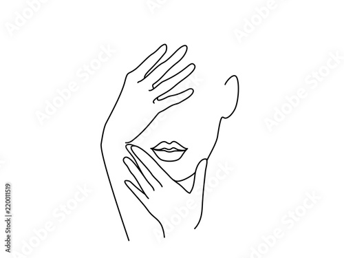 Plakaty do kosmetyczki  line-drawing-art-woman-face-with-hands-vector-illustration-concept-for-logo-card-banner-poster-flyer