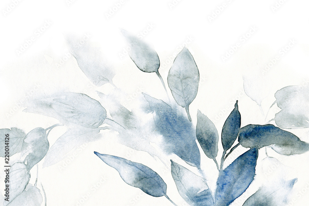 Fototapety, obrazy: watercolor background with leaves