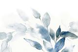 Fototapeta Kwiaty - watercolor background with leaves