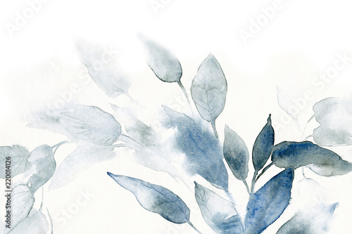 Valokuvatapetti watercolor background with leaves