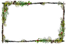 Watercolor Twig Frame With Hol...