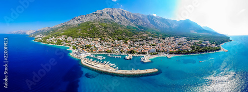 Aerial view of Baska Voda in summer, Croatia