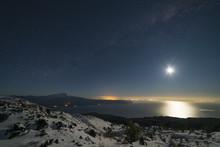 Night Landscape, Moon Setting ...